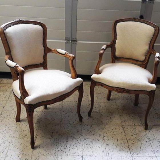 chaises bois tissu